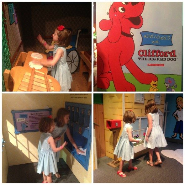 Clifford the big red dog exhibit Liberty Science Center Collage