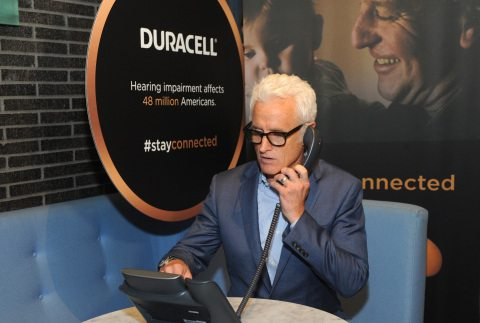 Actor John Slattery takes one of the 50,000 free hearing screenings Duracell is offering throughout the month of May, which is National Better Hearing Month, Tuesday, May 3, 2016, in New York. Learn more about the free test and Duracell's long-lasting hearing aid batteries at www.Duracell.com/StayConnected. (Photo by Diane Bondareff/Invision for Duracell/AP Images)
