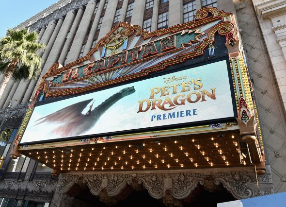"HOLLYWOOD, CA - AUGUST 08: A view of the atmosphere at the world premiere of Disney's ""PETE'S DRAGON"" at the El Capitan Theater in Hollywood on August 8, 2016. The new film, which stars Bryce Dallas Howard, Robert Redford, Oakes Fegley, Oona Laurence, Wes Bentley and Karl Urban and is written and directed by David Lowery, has been drawing rave reviews from both audiences and critics. PETE'S DRAGON opens nationwide August 12, 2016. (Photo by Alberto E. Rodriguez/Getty Images for Disney )"