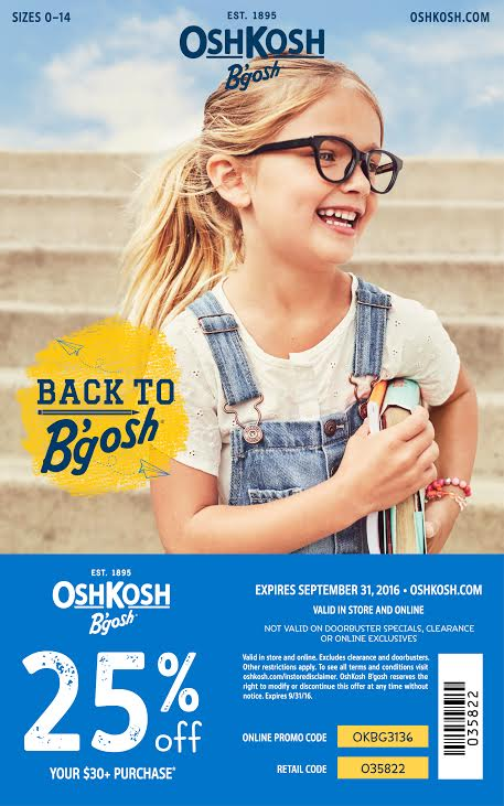 Osh Kosh Fall 2016 25% discount